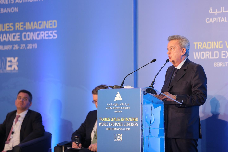 سلامة في المؤتمر الدولي للبورصات العالمية: الهدوء عاد ليخيم على أسواقنا بعد تشكيل الحكومة