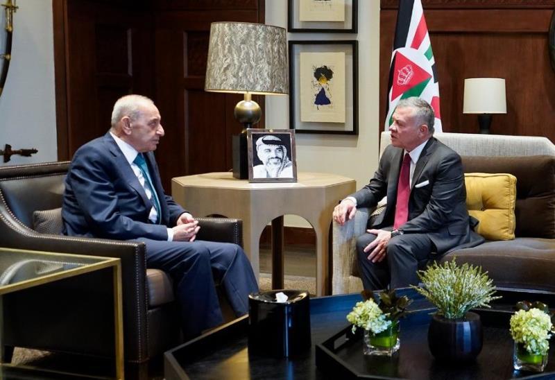 الملك الأردني التقى بري: نرحب بمبادلة الكهرباء بالمياه مع لبنان