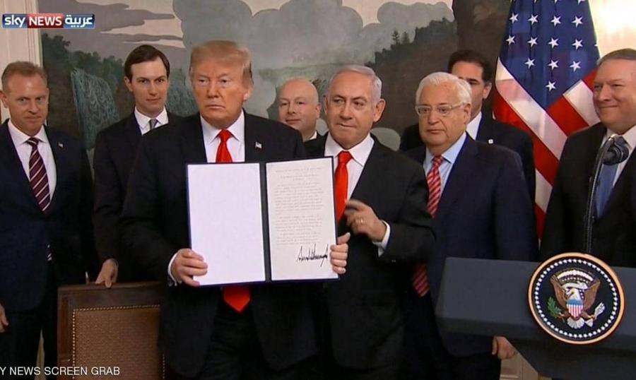 ترامب وقّع على الاعتراف بسيادة إسرائيل على الجولان تنديد عربي ودولي بالقرار