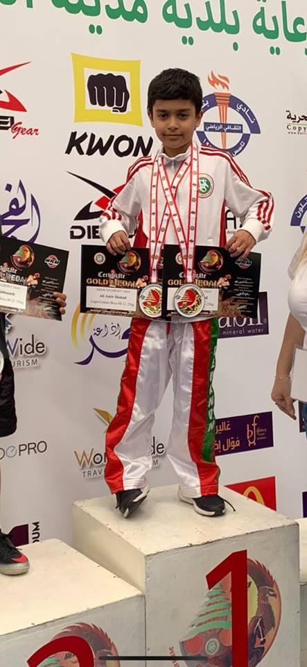 علي أمير حمد يفوز بالمركز الأول عن فئة الناشئين في الكيك بوكسينغ